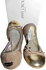 Jimmy Choo Beige Ballet Gold Cap Toe Ballerina Flat Shoe Wallach Weekend 37 / 6