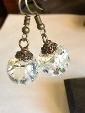 Unique Glass Crystal Ball Dangle Earrings , Clear With Bronze Hook
