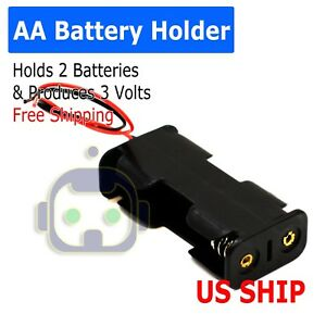 """Battery Holder Case Box with 3"""" Wire Leads for 2X Series AA Batteries 3V US"""