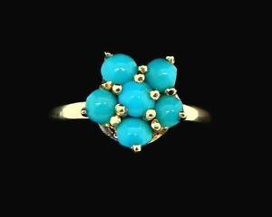 Vintage 14k Turquoise Cluster Ring Size 6 1/2