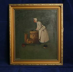Simple Framed Oil on Board Painting Study Titled The Scullery Maid