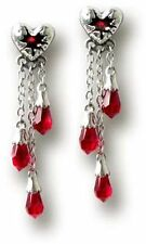 New Alchemy Gothic Bleeding Hearts Red Crystal Drop Earrings UK Made E272