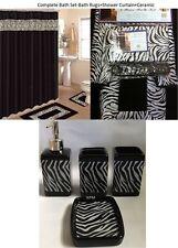 19pc Bath Accessory Set animal Black/White zebra print BANDED rug shower curtain