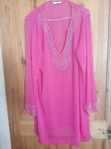 Marks and Spencer size XL 16 - 20 Hot Pink Beaded  Tunic Kaftan holiday