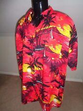 Vintage Camisa Hawaiana 80s Jamaica Talla Xl Rojo A17 Gráfico del atardecer
