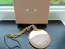 100% Authentic PRADA/Miu Miu Brown Leather Mirror Gold Keyring / Bag Charm BN