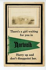"""A Girl Waiting for you in Norwalk WI"" Rare RPPC Antique Photo Penant ca. 1912"