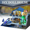 DIY Doll House Miniature Furniture Kit Wood Toy Cottage Gift w/ LED Lights Music