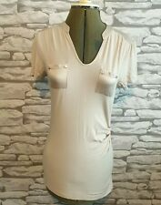 KAREN MILLEN champagne T-Shirt Casual Simple Elegant silk breast pockets  8 uk