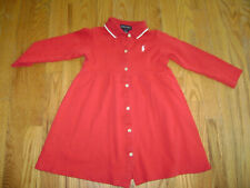 RALPH LAUREN GIRLS LONG SLEEVE DRESS sz 4 4T RED WHITE PONY 100% COTTON BUTTONS