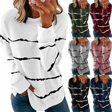 Womens Striped Long Sleeve Tops Sweatshirt Ladies Casual T Shirt Blouse UK 6-24