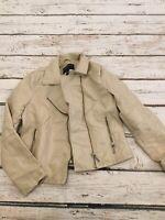 Bernardo Vegan Leather Moto Zip Jacket Womens M Tan Soft Wheat Pockets