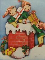 1950s Vtg PIXIES Elves on Roof GLITTER Gifts in Chimney CHRISTMAS GREETING CARD