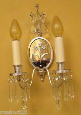 Vintage Lights pair 1920s crystal mirrored sconces