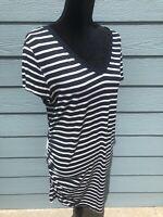 Liz Lange Maternity navy&white stripe short sleeve v-neck soft ruched A5-007