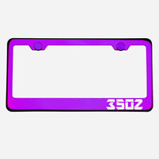 Purple Chrome License Plate Frame 350Z Laser Etched Metal Screw Cap
