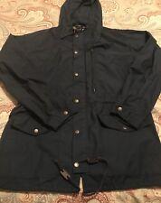 Vintage Polo Ralph Lauren Blue Full Zip Mens Hooded Rain Coat Jacket Nylon Small