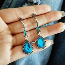 Women Blue Water Drop Earrings Crystal Vintage Long Earrings Dangle Earrings New
