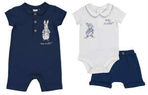 PETER RABBIT NAVY PIQUE ROMPER OR BODYSUIT WITH SHORTS - New