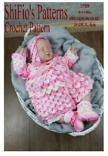 CROCHET PATTERN for BABY CROCODILE STITCH JACKET BOOTIES HAT #299 by ShiFio