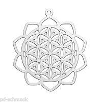 "5 Edelstahl Charm Anhänger Halsschmuck ""flower of life"" Silber 3x2.6cm"
