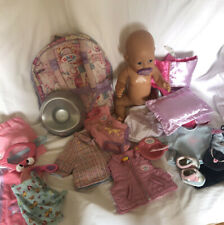 """ZAPF CREATION BABY BORN BUNDLE: 17"""" GIRL DOLL: CLOTHES:  ACCESSORIES"""