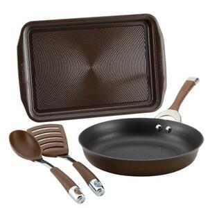 Circulon Cookware Set Hard-Anodized Aluminum Nonstick Chocolate Finish 4-Piece