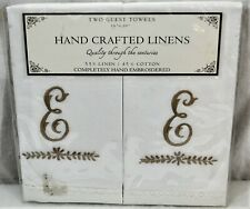 """New Hand Crafted Linens Embroidered Monogram """"E"""" Two Guest Towels"""