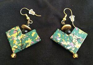 "Handmade JAPANESE ORIGAMI Paper Pierced EARRINGS • Green & Gold • 2"" Drop • NEW"