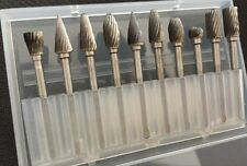 10X Solid Carbide Burrs Single Cut Set for Rotary Drill Die Grinder Carving Bit