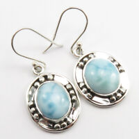 3 Days FREE Delivery ! 925 SOLID Sterling Silver Natural LARIMAR Earrings 1.5""