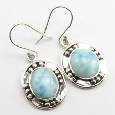 3 Days ! 925 SOLID Sterling Silver Natural LARIMAR Earrings 1.5""