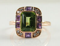 9K 9CT ROSE GOLD PERIDOT AMETHYST DIAMOND ART DECO INS LARGE RING FREE RESIZE