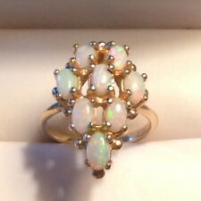 Large Natural Opal Cluster Ring 14K Solid Yellow Gold Size 5 1/4