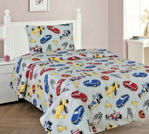 3/4 Piece TWIN/FULL Kids/Teens Fitted Flat SHEET Pillow Cases Set Red Car