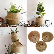 Foldable Seagrass Clothes Storage Basket Plants Pot For House balcony Decoration