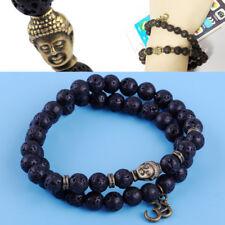 2X Herren Armband Lava Stein Perlen Armbänder Buddha Men Beaded Bracelet Schwarz