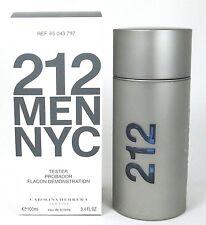 212 Men NYC Cologne Carolina Herrera Eau De Toilette Spray 3.4 oz New Tester