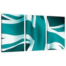 Three Piece Teal Canvas Art Pictures Set Wall Prints Blue Green 3010