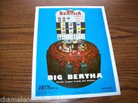 BIG BERTHA By XADYNE ORIGINAL 1979 SLOT MACHINE PROMO SALES FLYER BROCHURE