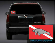 (Pack of 3) Manatee on Dive Flag  Decal / Sticker 200-46