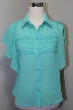 NEW TCEC Women's Chiffon Button up Blouse Top Shirt -Green Mint- Small
