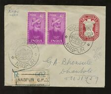 INDIA 1953 STATIONERY ENV.UPRATED PAIR GHALIB...SPECIAL NAGPUR PACT PMK + REGIST