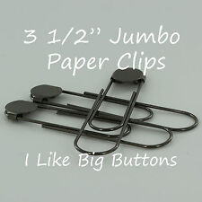 "25 GUNMETAL Jumbo/Giant Bookmarks 3 1/2"" Paper Clips/Paperclips w/Glue Pad Black"