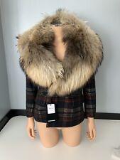 Dsquared2 Icon NEW blazer Fur Tartan Jacket Coat Size It 40 Uk 8 Bnwts Rrp £2800