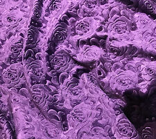 Eggplant Purple Roses - EMBOSSED Velvet Fabric - 1/4 yd remnant