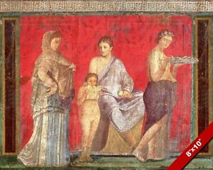 ANCIENT VILLA DEI MISTERI POMPEII FRESCO ROMAN PAINTING ART REAL CANVAS PRINT