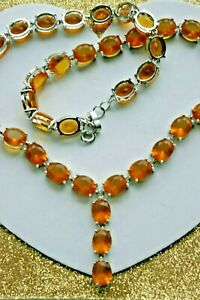 """925 SILVER NECKLACE WITH GOLDEN CITRINE 53 GR. 18"""" - 20"""" INCHS LONG IN GIFT BOX"""