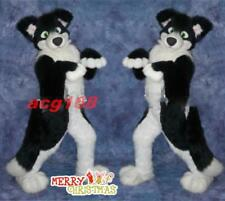 Black Husky Dog Mascot Costume Adults Long Fur Suit Unisex Cosplay Fancy Dress