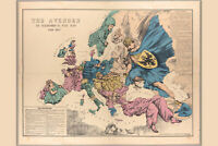 The Avenger, an Allegorical War Map for 1877 Antique Map by Fred Rose